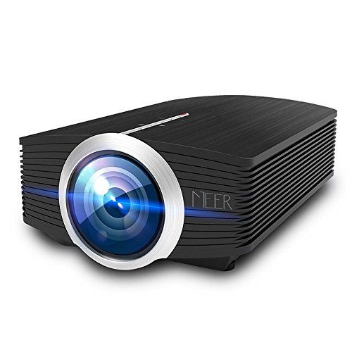 MEER 1200 Lumens LCD Portable Projector, Support 1080P 130'' Wide Screen Size with Built-in Speaker for Video Games Movies, Multimedia Home Theater Video Projector for iPad iPhone Smartphones Laptops