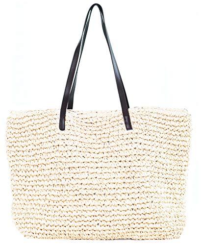 Obosoyo Women's Classic Straw Handbag Summer Beach Sea Shoulder Bag Large Tote Beige (1White)