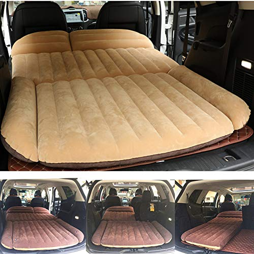 Berocia SUV Air Mattress, Thickened Car Bed Inflatable Home Air Mattress Portable Camping Outdoor Mattress, Flocking Surface, Fast Inflation (Mattress 3) (Best Inflatable Car Bed)