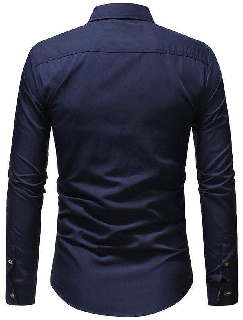 XiaoTianXinMen XTX Mens Casual Button Down Basic Color Block Long Sleeve Shirts