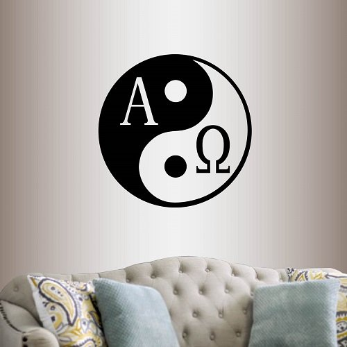 In-Style Decals Wall Vinyl Decal Home Decor Art Sticker Yin and Yang and Alpha Omega Sign Symbol Room Removable Stylish Mural Unique Design 2253