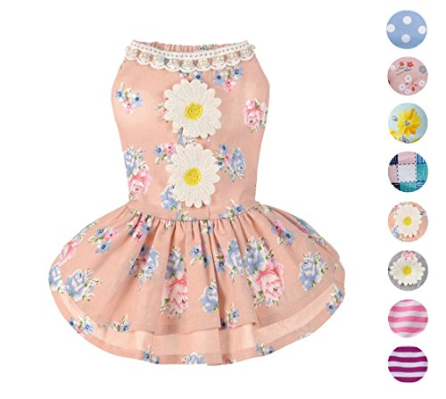 Alroman Dog Dresses Pets Clothes Pink Doggie Harness Dresses Lace Princess Puppy Dresses Pearl Dogs Clothes Pet Elegant Floral Cat Dress D-ring Vest Shirt Sundress Skirt Outfit Costume Apparel (L) (D-ring Cat Harness)
