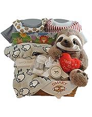 Unisex Gift Basket Newborn and Sibling: Set of 2 Onesies, Fleece Blanket and more