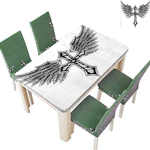 (Printed Fabric Tablecloth Heraldic Wing and Cross Christ and Christian Fable Feathers Faith King Heraldic Washable Polyester 54 x 72 Inch (Elastic Edge))
