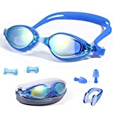 JUEQI Swim Goggles, Swimming Goggles No Leaking Mirrored Anti Fog UV Protection for Adult Men Women Youth Boy Girl Kids Child(Size Nose Bridges Supplied (S/M/L)), Triathlon Equipment (Style 1 Blue)