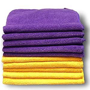 10 Packs de chiffons en microfibre Violet et Jaune de Qualité Premium – Grande taille 40 x 40 cm (16″x16″) – Peluche Ultra douce – Absorbe 5 fois son poids – Garantie à 100 % Satisfait ou Remboursé
