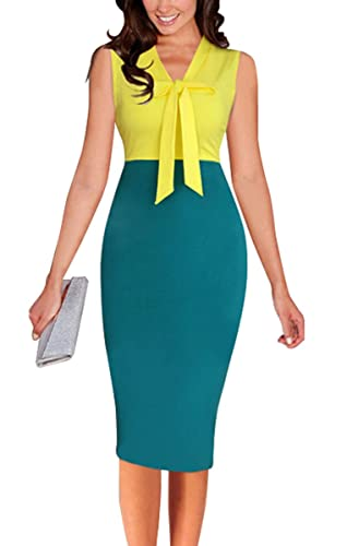 LECHEERS Women Sleeveless Bodycon Elegant Vintage Formal Business Pencil Dress
