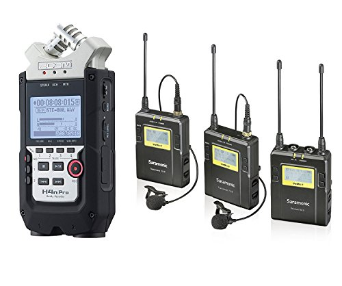 Zoom H4n PRO 4-Channel Handy Recorder Bundle with Saramonic UHF Wireless Dual Lavalier Microphone System by Movo