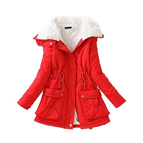 Red Medium Winter Slim Wadded DOLDOA Winter Size New Plus Long Drawstring Warm Womens Outwear Coat Jacket E8wXaqZ