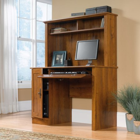 Computer Desk with Hutch, Flip-Down Modeling Reveals Slide-Out Keyboard/Mouse Shelf, Adjustable Shelf, Holds Vertical CPU Tower, Hutch has Cubbyhole Storage, Enclosed Back Panel, Abbey Oak Finish -