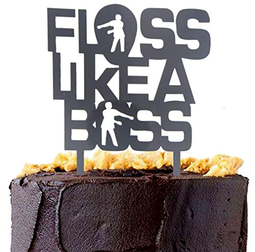Awyjcas Floss Like A Boss Cake Toppers for Video Game Party Favors Supplies Baby Boy Birthday Cake Decoration Party Decorations ()