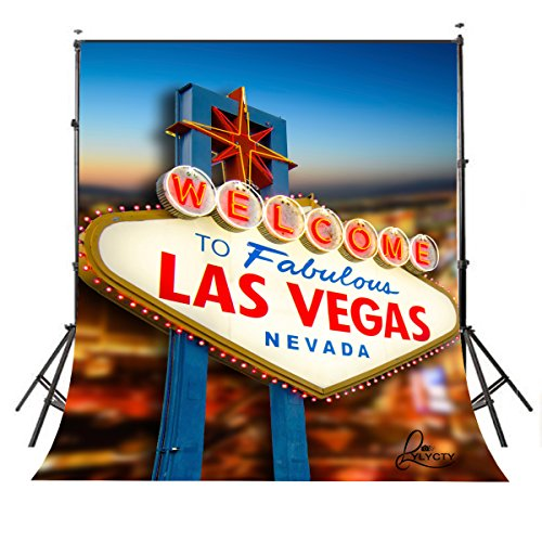 LYLYCTY 5X7 City Backdrop Vegas Backdrop Casino Backdrop Las Vegas Party Decorations Night Vegas Themed Sign BG052]()