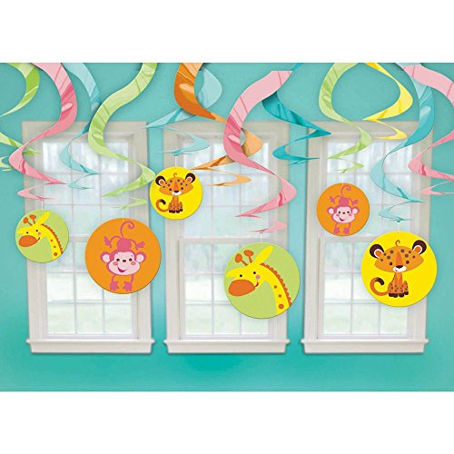 [Fisher Price Animals of the Rain Forest Hanging Swirl Decorations (12pc)] (Forest Animal Halloween Costumes)