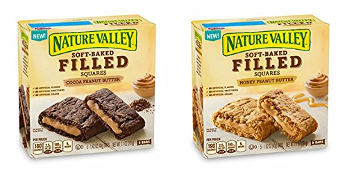 Nature Valley Soft Baked Filled Squares COCOA + HONEY PEANUT BUTTER (PACK OF 2 - 5 BAR BOXES)