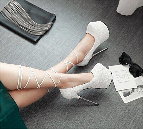 Paillettes spillo Glitter 35 donna 42 Tacco Club Cross a Party Scarpe GAOGENX EU40 Straps Tacco piattaforma a alla da Taglia Ea7qwPpx0