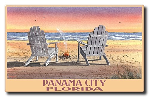 Panama City Florida Adirondack Chairs Beach Aluminum HD Metal Wall Art by Artist Dave Bartholet (11 x 17.6 inch) Art Print for Bedroom, Living Room, Kitchen, Family and Dorm Room - Mall Parkway City