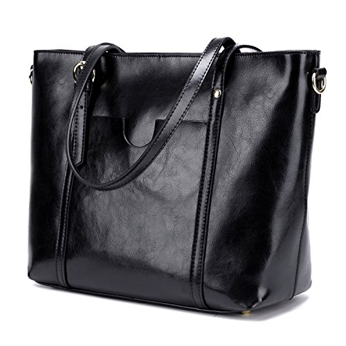 Genuine Leather Purse Tote Bag (CLELO Women's Tote Bag Vintage Genuine Leather Purse Shoulder Bag Large Black)