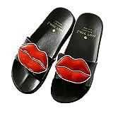 ALOTUS Women Anti-Slip Cute Lip Flat Slide Sandals Slipper for Summer (8.5 B(M) US, Black)
