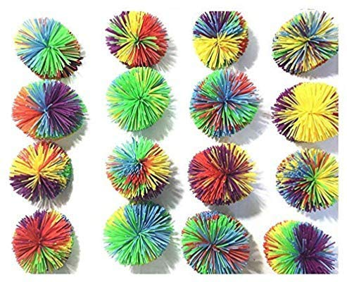 16 PCS Mix Color Koosh Ball, Monkey Stringy Balls,Size of 3 inches Stringy Play Ball, Sensory Fidget Toys, Stress Balls with Rainbow Pom Ball, Colorful Bouncy Ball