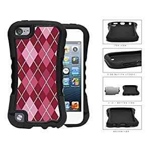 Preppy Argyle With Pink Variations 2-Piece Dual Layer High Impact Rubber Silicone Case Cover Apple iPod Touch 5th Generation