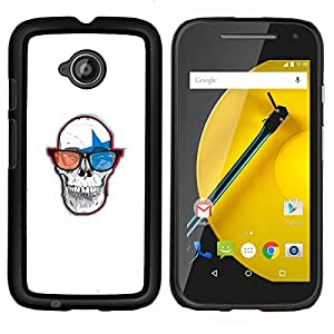 Qstar Arte & diseño plástico duro Fundas Cover Cubre Hard Case Cover para Motorola Moto E2 E2nd Gen (Cráneo Gafas 3D)