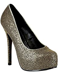 Womens Sparkly Pumps Diamond Pattern Shoes 5 Inch Heels Blue Bronze Gold Green