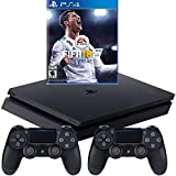 Sony PlayStation 4 Slim 1TB Console with 2 Dual Shock4 Wireless Controller and FIFA 18 - Black