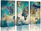 artwork for home Large World Map Canvas Prints Wall Art Living Room Office 16x32 3 Piece Green World Map Picture Artwork Decor Home Decoration