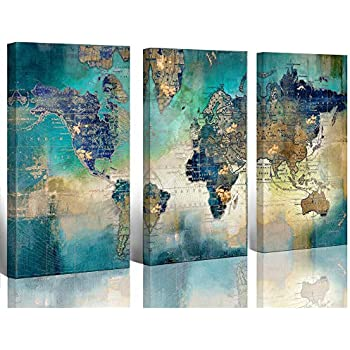 Large World Map Canvas Prints Wall Art Living Room Office 16x32 3 Piece Green World Map Picture Artwork Decor Home Decoration