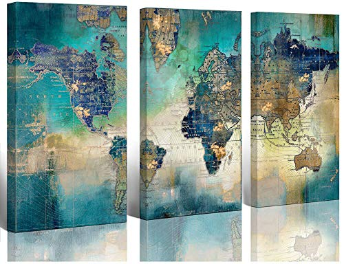 Large World Map Canvas Prints Wall Art Living Room Office 16×32 3 Piece Green World Map Picture Artwork Decor Home Decoration