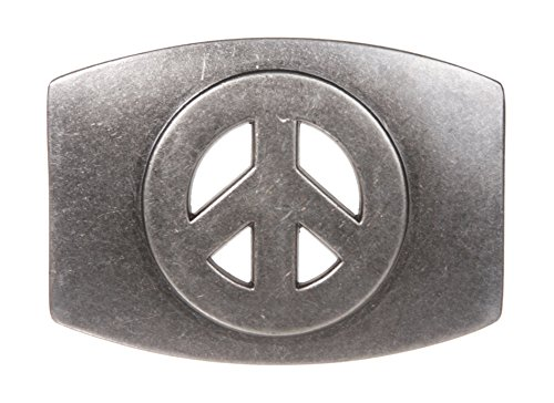 Plain Oval Peace Sign Belt Buckle Color: Antic Silver ()