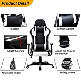 Polar Aurora Gaming Chair Racing Style High-Back PU Leather Office Chair Computer Desk Chair Executive Ergonomic Style Swivel Chair Headrest Lumbar Support/White