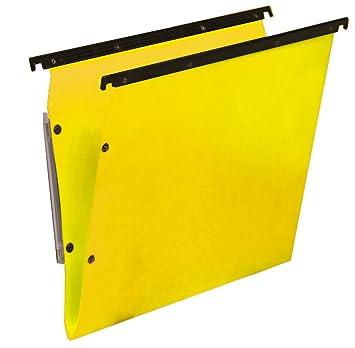 Bertesi - Lote de 10 carpetas colgantes para archivador, diseño en forma de V, color amarillo: Amazon.es: Oficina y papelería