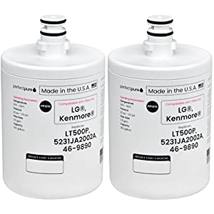 2 - Pack PerfectPure Made in USA Water Filter Replaces LG, Kenmore, Sears LT500P, 5231JA2002, 5231LA2002A, 5231JA2002B, 9890, ADQ72910901 ADQ72910902, GEN11042F-08, GEN11042FR-08, RFC0100A, WF290