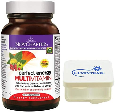New Chapter Perfect Energy Multivitamin with Vitamin B12 Vitamin B6 Vitamin D3 Organic Non-GMO Ingredients – 96 ct Bundle with a Lumintrail Pill Case