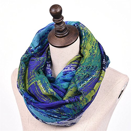 Promini Women Fashionable Mixed Color Oil Painting Soft Collar Loop Infinity Scarf