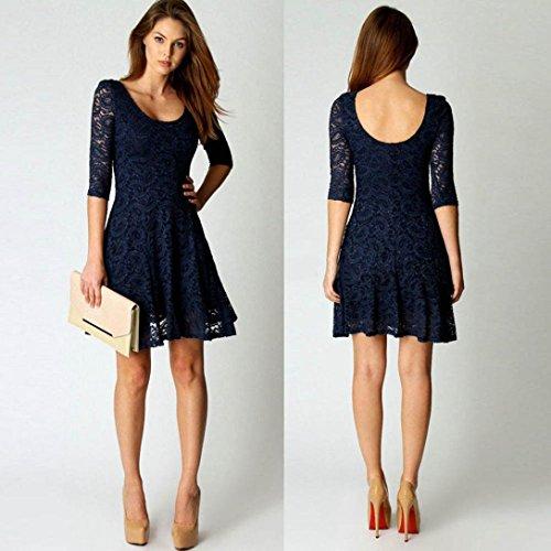 OverDose Moda de las mujeres de encaje de tres cuartos de fiesta de noche Mini vestido corto Azul