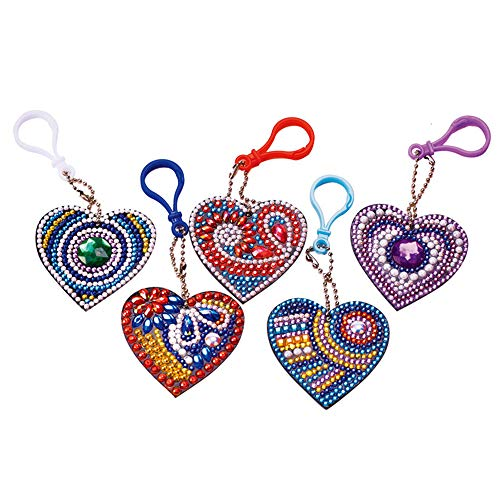 Toyvip Diamond Painting Keychain, DIY 5D Diamond Painting Pendant Mosaic Making Key-Chains Key Ring Phone Charm Bag Pendant Decor Accessory, Full Drill, Heart Shape