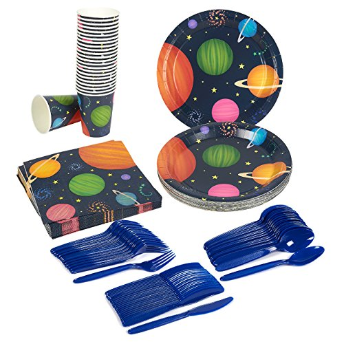Outer Space Party Supplies ? Serves 24 ? Includes Plates, Knives, Spoons, Forks, Cups and Napkins. Perfect Outer Space Birthday Party Pack for Kids Planet Themed Parties.