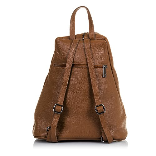 FIRENZE ARTEGIANI.Mochila de mujer casual piel auténtica.Bolso mochila cuero genuino,piel DOLLARO,solpa cruzada diseño.DAY PACK CASUAL. MADE IN ITALY. VERA PELLE ITALIANA. 30x37x15 cm. Color: LEATHER