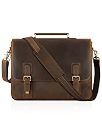"Kattee Men's Cow Leather Messenger Bag Briefcase 15.6"" Laptop Bag"