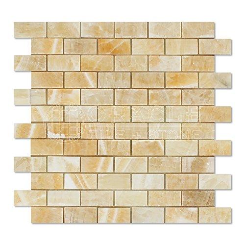 Honey Onyx 1 X 2 Brick Mosaic Tile, -