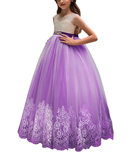 Flower Girl Dress for Wedding Kids Lace Pageant Ball Gowns (Size 6, Plum) -