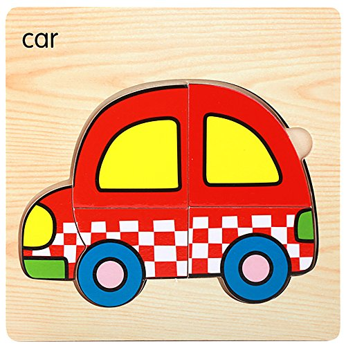 callm Educational Toy,Puzzle Toy Wooden Lovely Puzzle Educational Developmental Baby Kids Training Toy Gift-Automobile/Rocket/Hot Air -