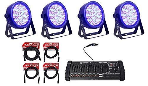 (4) Chauvet DJ EZPar 56 Rechargable Slim Wash Lights EZPAR56+DMX Controller (56 Lighting Display Anywhere)