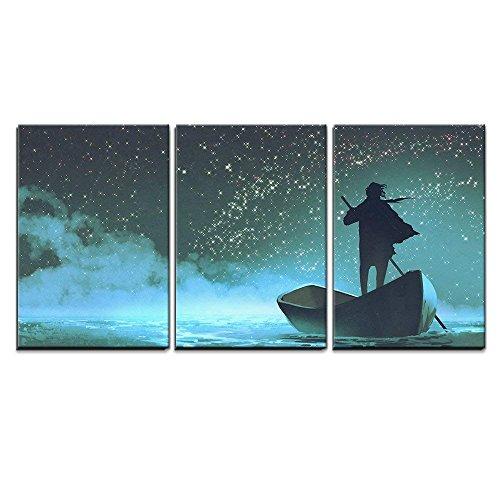 wall26 - 3 Piece Canvas Wall Art - Illustration - Man Rowing a Boat in The Sea Under Beautiful Sky with Stars - Modern Home Decor Stretched and Framed Ready to Hang - 16