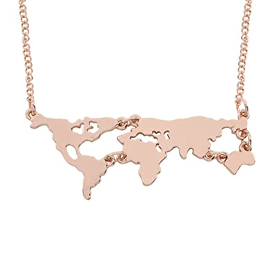 Amazon dwcly personality gold world map pendant necklace world amazon dwcly personality gold world map pendant necklace world continent necklace jewelry gift for travel lovers rose gold jewelry gumiabroncs Image collections