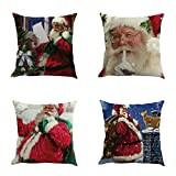 Best Mattress Topper for Back Pain 2015 FarJing Christmas Pillow Cases, 4PC Christmas Decorative Cotton Linen Sofa Car Home Waist Cushion Cover Throw Pillow Case (45cm45cm, E)