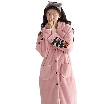 Pijamas Bata para Mujer Albornoz Bañarse Lujoso Coral De Franela Suave Franela Estampado De Manga Larga Homewear Invierno Cardigan Casual Pocket (Tamaño ...