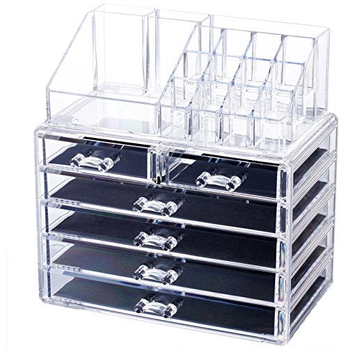 Homde Large Acrylic Makeup Organizer Jewelry & Cosmetic Storage Case 2 Pieces Desk Organizer for Office Counter Dresser Bathroom